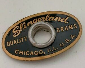Slingerland Black and Silver Oval Drum Badge Niles IL 70/'s through early 80/'s