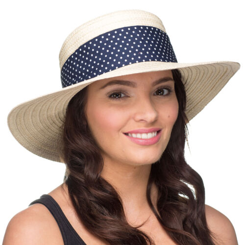 Navy Womens Summer Sun Boater Hat with Stylish Scarf Trim