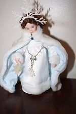 "Danbury Mint Storybook Doll Collection SNOW QUEEN 7"" Doll Porcelain + orig box"