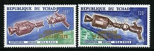 Space-Raumfahrt-1975-Tschad-Chad-Apollo-Soyuz-722-723-Gold-Overprint-MNH-1270