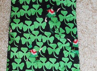 Neck Tie Leprechaun Hiding Clover Irish Silk RM Style St Patrick Ireland