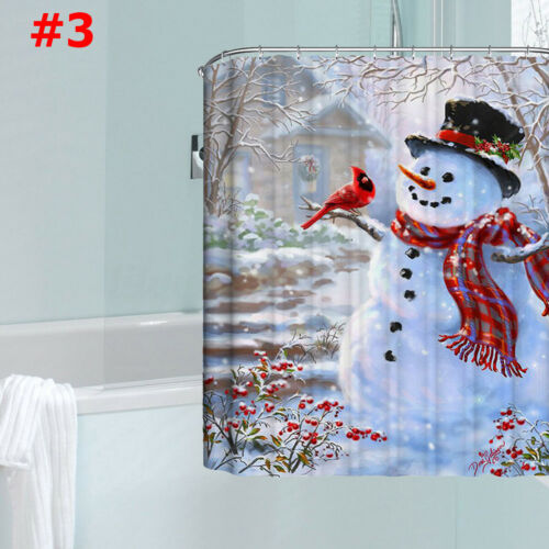 2018 Christmas Xmas Santa 3D Printed Bathroom Shower Curtain Waterproof Decor