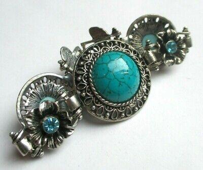 Bracelet Couleur Argent Perles Turquoise Cristaux Bleus Ancien Bijou Vintage 312