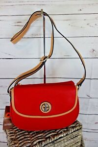 NEW-Giani-Bernini-Saffiano-Top-Zip-Mini-Saddle-Bag-Red-MSRP-109