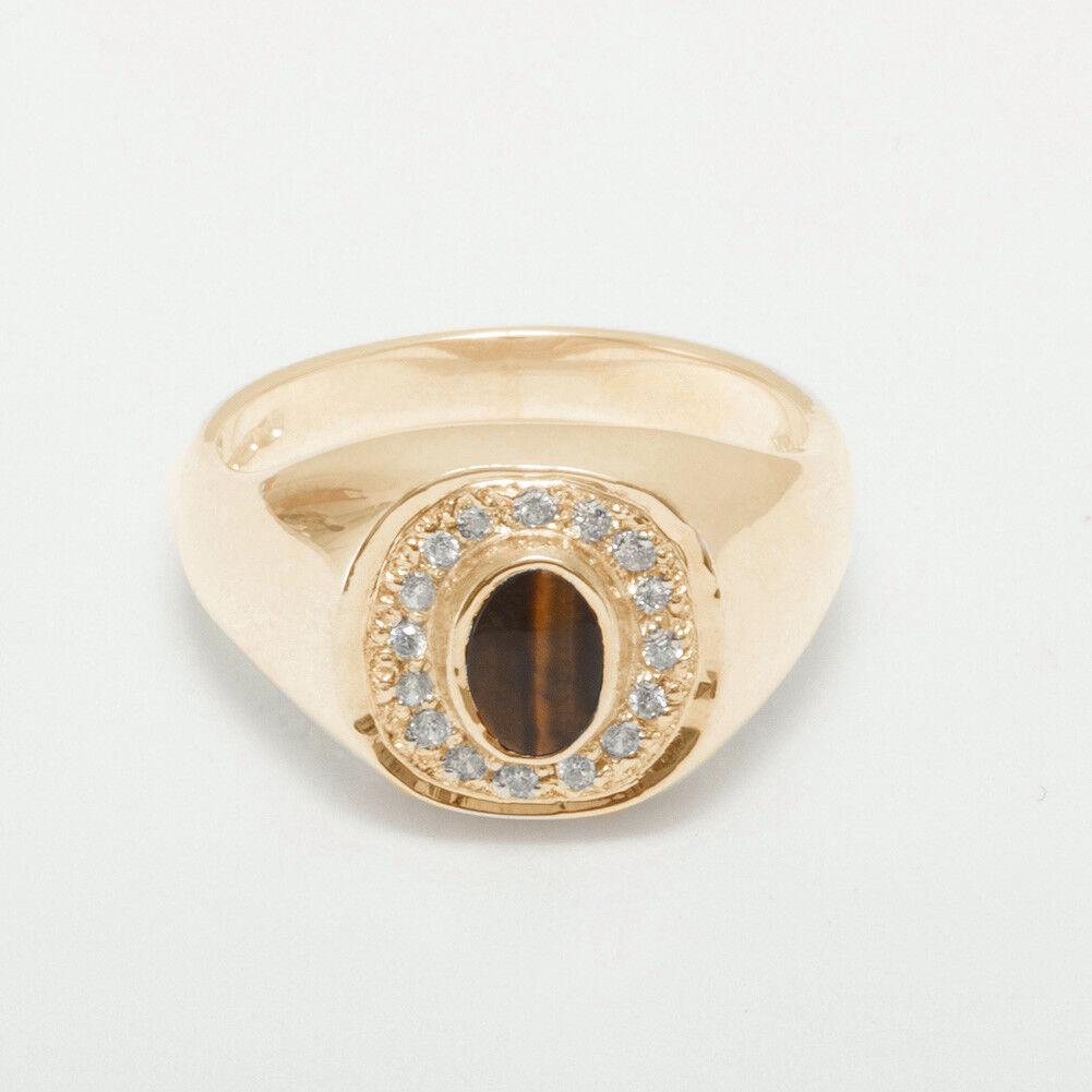 10k pink gold Natural Tigers Eye & Diamond Mens Signet Ring - Sizes 6 to 12
