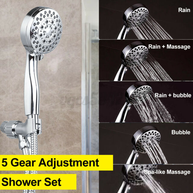 5 Gear Adjustment Shower Head Home Bathroom Rain Shower With Shower Hose Kit