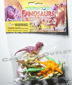 12 DINOSAUR TOY FIGURE PARTY FAVORS CANDY BAGS GIFT JURASSIC CUPCAKE DECORATION