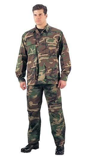 Camouflage MENS ROTHCO WOODLAND CAMO BDU SHIRT Military Long Sleeve Fatigue S-3X