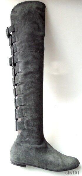 New 1.6K Giuseppe ZANOTTI dark grey suede BUCKLES OTK TALL FLAT BOOTS - HOT