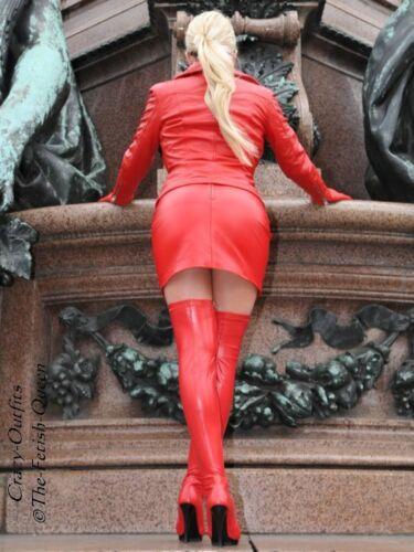 Rock Mini Hüftrock Maßanfertigung Rot Lederrock Leder zxaf5