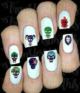 30 Suicide Squad Harley Quinn Joker Nail Art Decals Water Transfers