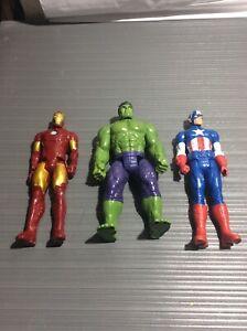 Hasbro Marvel Figure 11.5 Lot Of 3 Captain America Hulk And Iron Man