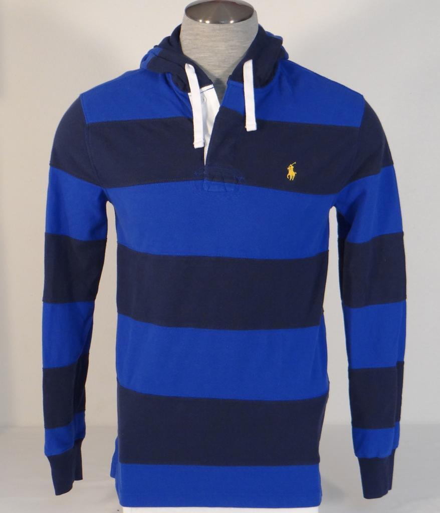 Polo Ralph Lauren bluee Stripe Hooded Long Sleeve Polo Shirt Men's NWT