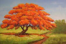 "CUBAN ART!!J.M GIL ART WORK!! ACRYLIC PAINTING ON CANVAS  "" ROYAL POINCIANA TREE"