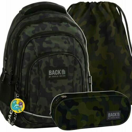 Set 3tlg Schulrucksack Tasche Federtasche Sportbeutel Oberschule Militärisches