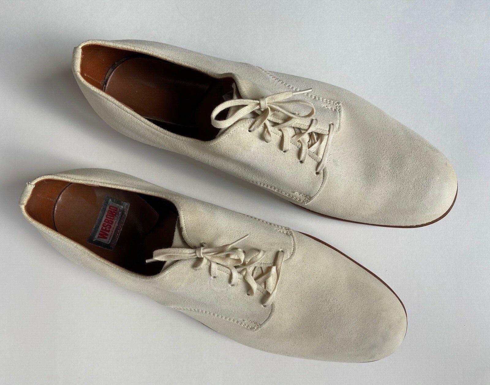 Vintage Men's WESBORO White Buckskin Shoes...BUCK… - image 1