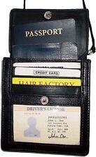 New Black Leather passport cover, Card case ID Holdert case W/ neck string BNWT*