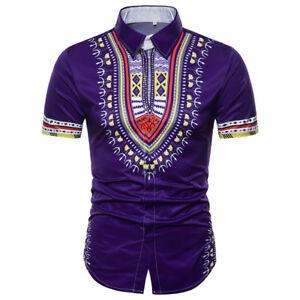 Men S Dashiki Shirt African Clothing Hippie Top Short Sleeve Boho