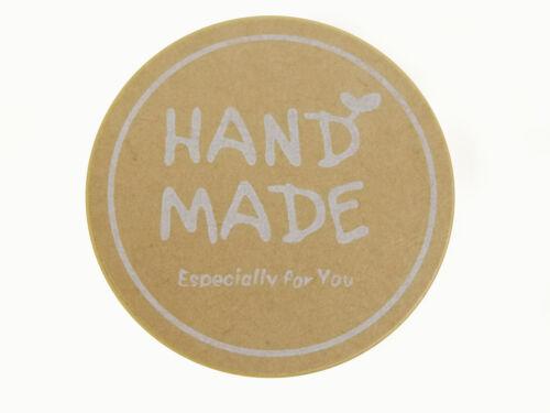 """120 Etiketten /""""Hand made/"""" selbstklebend rund 35mm nenad-design"""