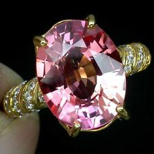 _LDN_  Bague Saphirs Padparadscha 13.6x10.6mm_Argent 925 + plaque or 14ct _T 54