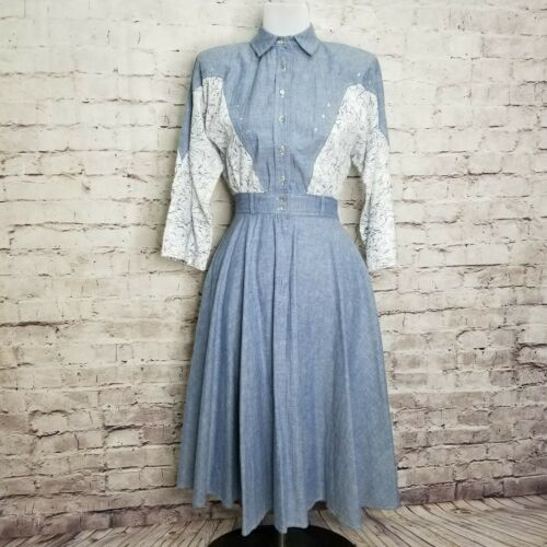 Vintage Act I Chambray Denim Midi Floral Dress Wes