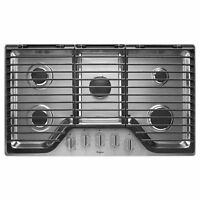 "Whirlpool® 36"" 5 Burner Gas Cooktop Hinged Cast-Iron Grates Stainless WCG97US6DS"