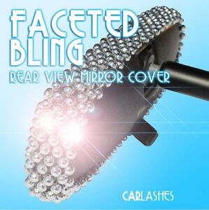 Rear View Mirror Cover Bling Faceted Sparking Gems By Car