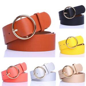 UK-SALE-Ladies-Women-Round-Buckle-Belt-Dress-Jeans-Faux-Leather-Waistband