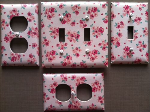 Light Switch Cover Plate Pink Floral Decor Small Bouquet Flowers Red