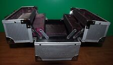 CABOODLES 4 Tray Case Makeup Silver Case Womens Personal Storage Organizer