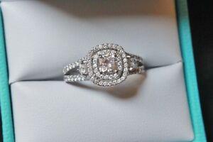 Image Is Loading White Gold Double Halo Split Shank Diamond Engagement