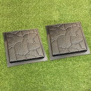 Image Is Loading 2 Pcs Plastic MOLDS For Concrete Garden Stepping