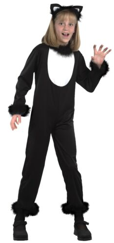 Girls Boys Kids Black Cat Catsuit Animal Halloween Fancy Dress Costume Outfit
