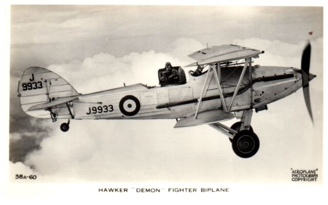 Postcard RAF Hawker Demon Fighter Aircraft Bi Plane Aeroplane RPPC Y