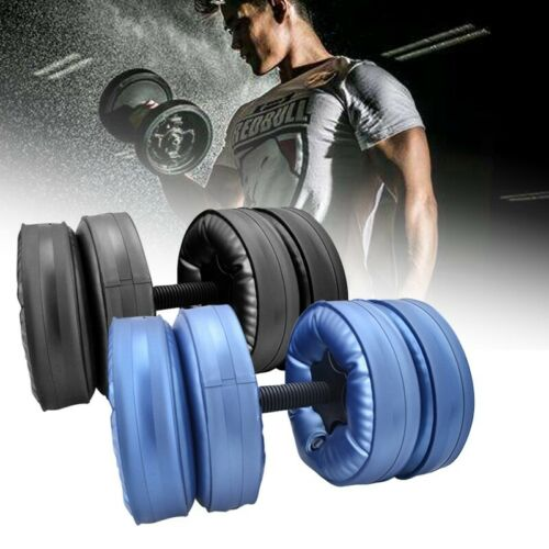 2x ADJUSTABLE DUMBBELL WATER-FILLED BARBELL WEIGHT GYM LIFTING WORKOUT FITNESS