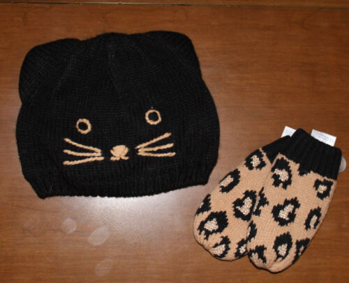 12-24 mos Details about  /NWT GYMBOREE Right Meow Black kitty cat Hat /& leopard Mittens Set Sz
