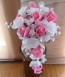 Brautstrauss Hochzeitsstrauss Rosa Weiss Blumenstrauss Hochzeit Ebay