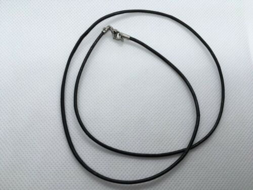 Ready Made Black Cowhide Necklace Stainless Steel Clas