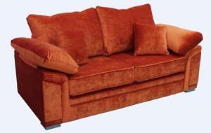 Details About Victoria 3 Seater Sofa Settee Pastiche Burnt Orange Velvet