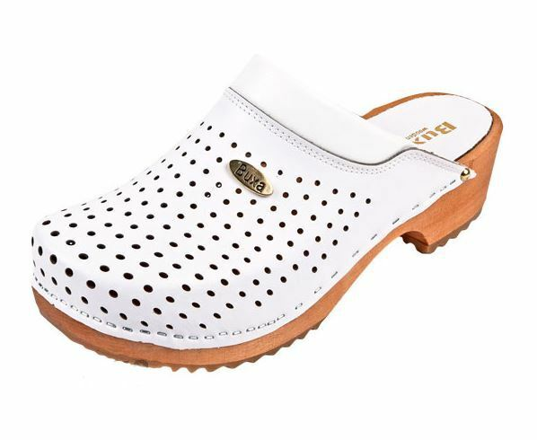 Wooden leather clogs   White color      Swedish style    US Shoe Size (Men's) f43e88
