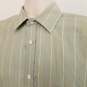 Banana-Republic-Long-Sleeve-Shirt-Men-039-s-Large-Relaxed-Fit-Green-Striped-Cotton