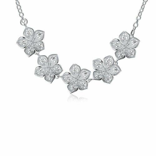 Fashion 925 Plaqué Argent Bijoux 5 Fleurs Chaîne Collier Pour Femmes N336
