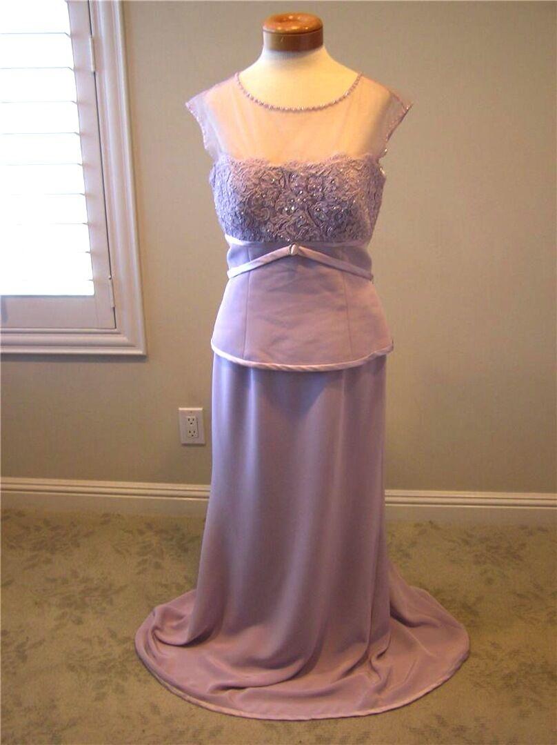 Montage by Mon Cheri formal MOB yoke crepe/lace Long dress purple lilac 10 New