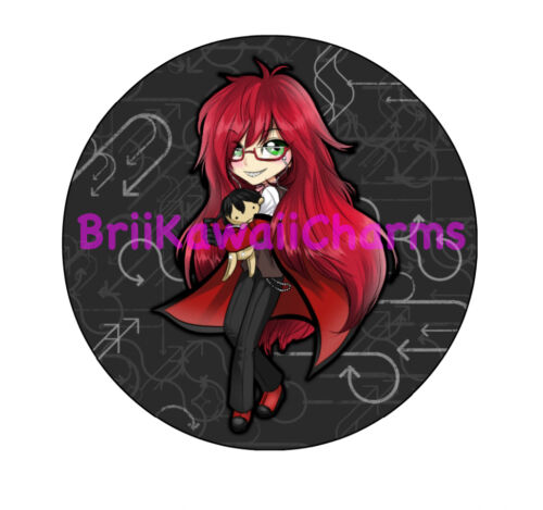 """Kawaii Chibi Grell from Black Butler Professional 2.25/"""" Pin-back Button"""