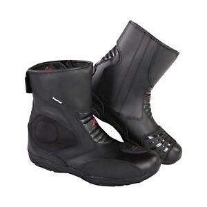 Xtron-Vera-pelle-Tech-Uomo-Motociclista-Moto-da-Corsa-Scarpe-Boots-Touring-Corto