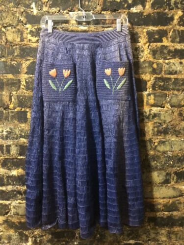 Vintage 1950's Straw Raffia Blue Skirt W 26