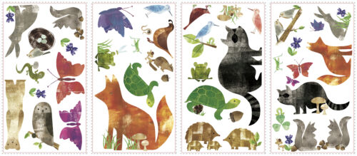 WOODLAND ANIMAL FRIENDS wall sticker 35 decal turtle fox raccoon scrapbooking
