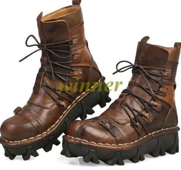 Uomo Buckle Lace Up Mid Calf Boot Western Cowboy Vintage Vintage Vintage Platform Desert Sz wi 2f01ab