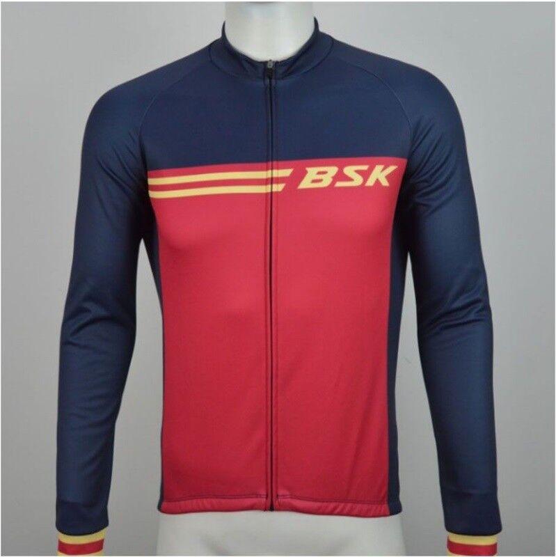 Winter Thermal Long Sleeved Cycle Jersey Cycling Shirt Top Navy Blau ROT  Herren