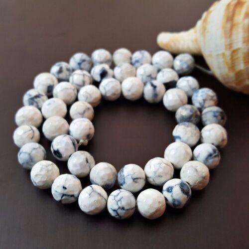 1 Strang Perlen Edelsteine NELLYS Feuerachat schwarz-weiß 8mm fac